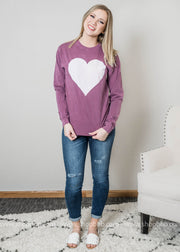 Limited Edition Heart top in faded purple with high rise denim and white sandels