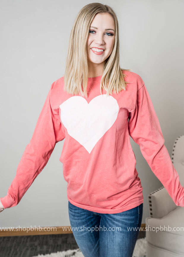 Our Heart Long Sleeve Top in faded red is perfect for Valentines Day