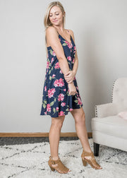 Navy slip dress with pops of fuschia flowers