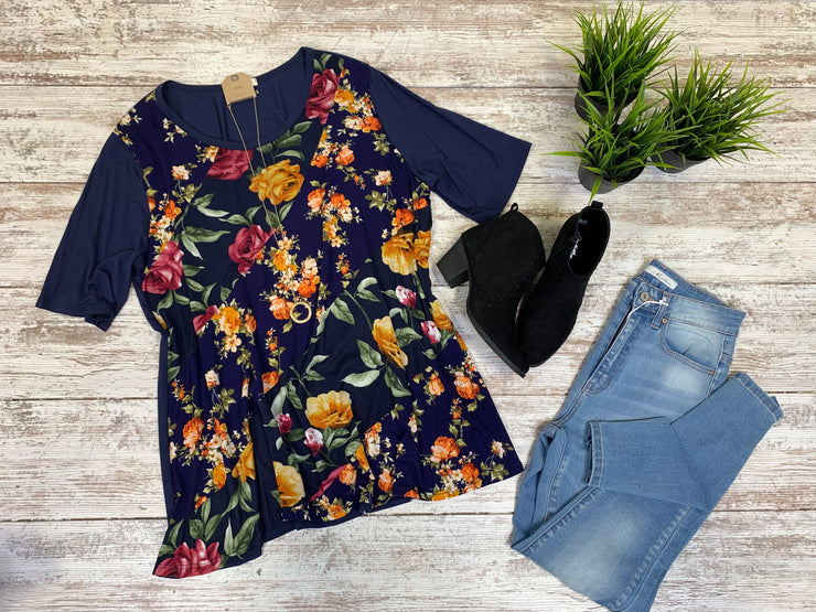 Curvy Girl Floral Navy Top, TOPS, Gilli, badhabitboutique