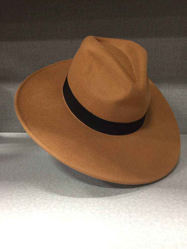 The Tan Wide Band Panama Hat