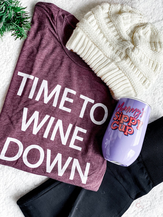 time to wine down t-shirt, cc beanie, mommy's sippy cup tumbler, black leggings, gift set