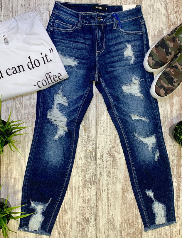 Distressed Medium Wash Skinny Jeans-CELLO