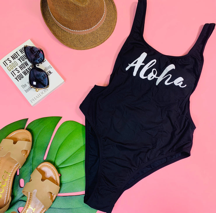Aloha One Piece Swimsuit, Swimwear, Envya, BAD HABIT BOUTIQUE
