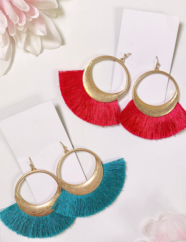 circle fringe earrings in hot pink and teal