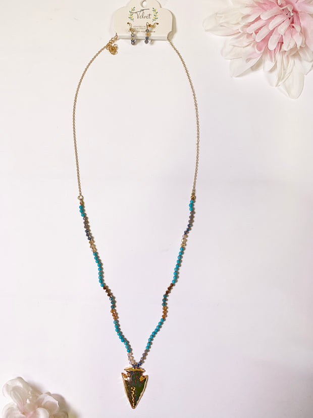 Boho Vibes Arrowhead Turquoise Beaded Necklace, NECKLACE, JOIA, BAD HABIT BOUTIQUE