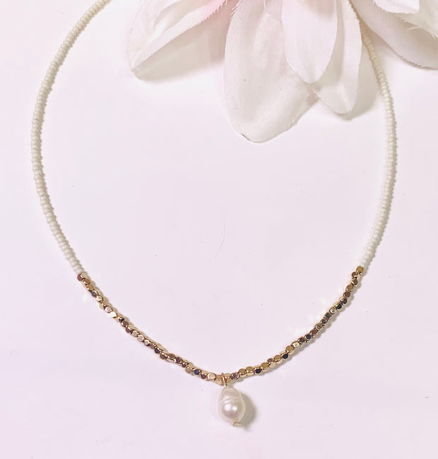 gold and ivory beaded Choker necklace