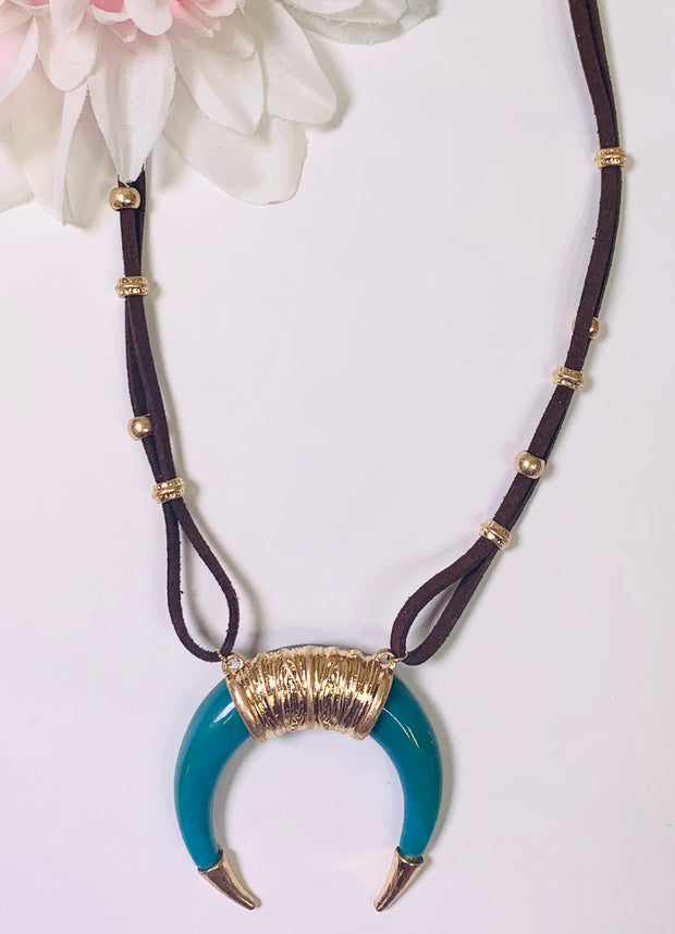 suede leather gold and turquoise crescent horn necklace