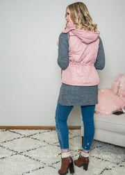 Back view of our quilted pink vest perfect for an Ski-lodge.  Vest, quilted vest, hooded vest, mauve vest