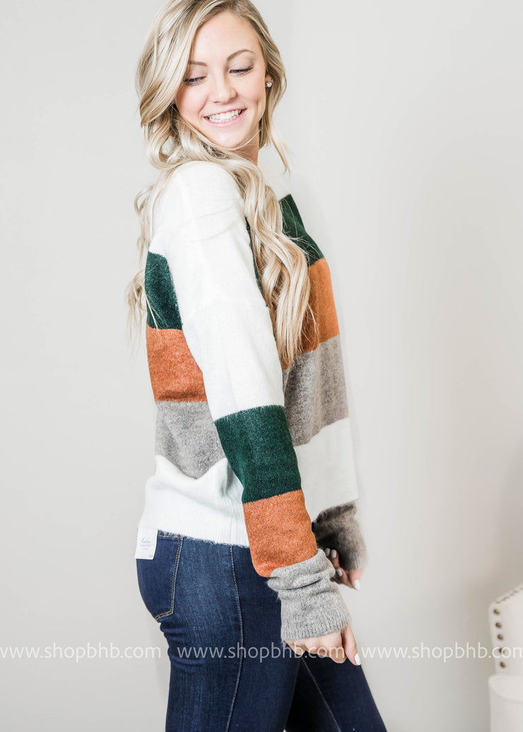 Knitted Color Block Sweater