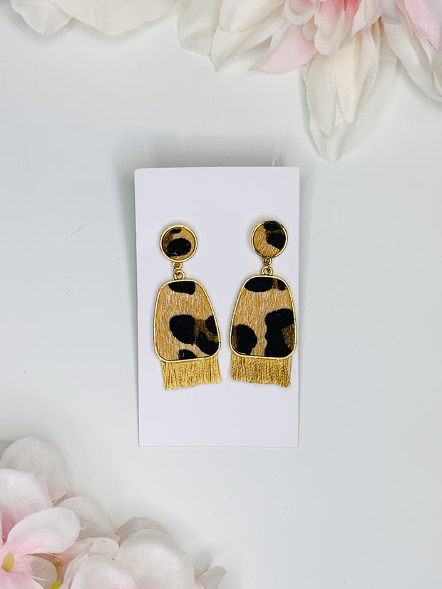 Fringe Cheetah Earrings