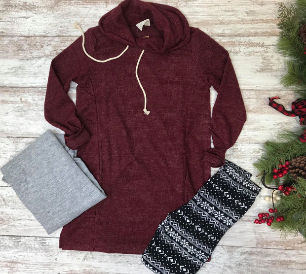 This soft knit cowl neck tunic is truly one of my favorite pieces this winter season.  Layering it with leggings and rider boots to complete the outfit of the day.