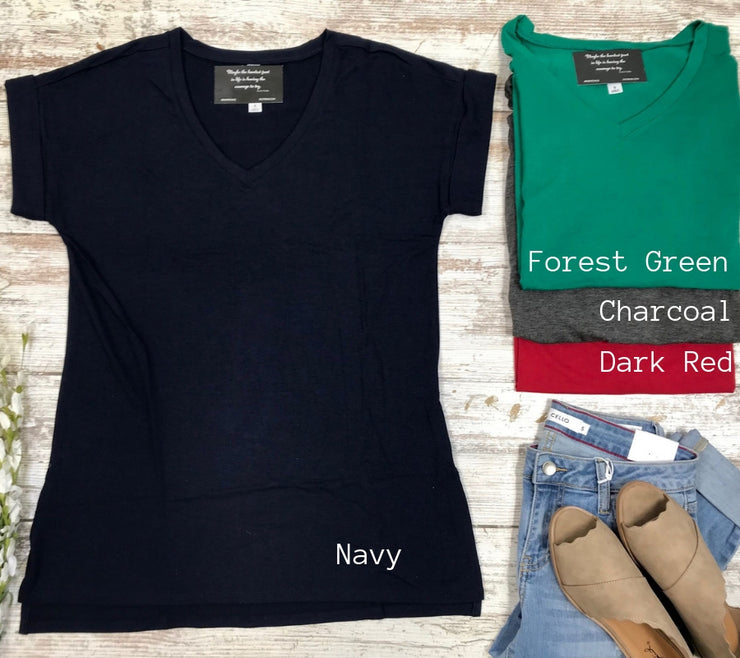My Basic V-Neck tee has arrived in 4 new colors.