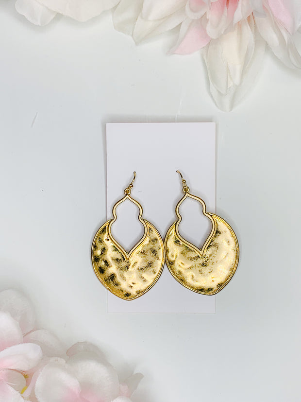 Moroccan golden earrings dented cheetah pattern