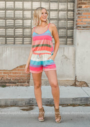 colorful striped romper