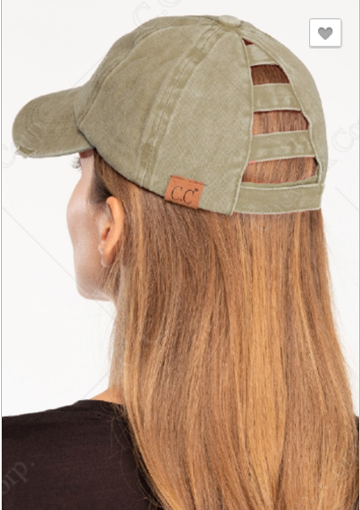 C.C  Distressed Ladder Ponytail Hat, ACCESSORIES, CC, BAD HABIT BOUTIQUE