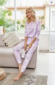 Lounge Set Tie Dye Purple ( 2 PIECE SET)