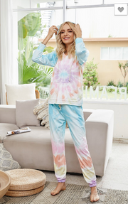 Multi Colored  Tie Dye hoodie and pants lounge wear Set