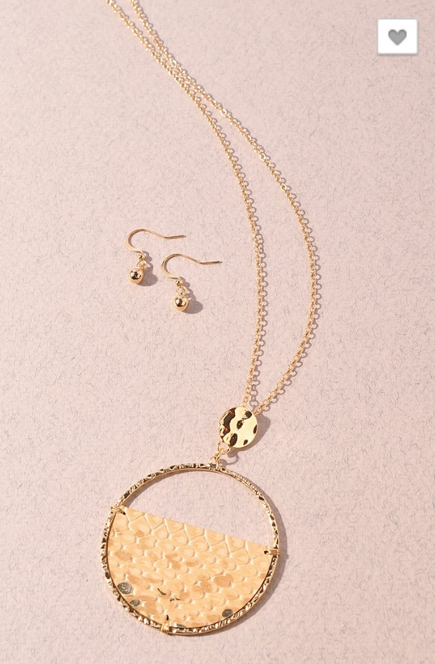 Long Circle Snakeskin Gold Necklace with Earrings