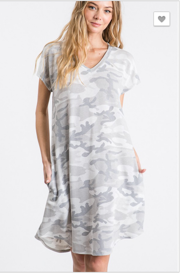 Vneck Camo Dress | FINAL SALE, CLOTHING, HEMISIH, BAD HABIT BOUTIQUE