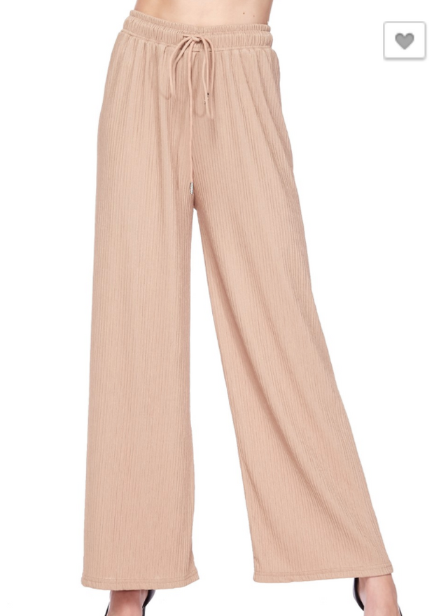Pleated Drawstring Belted Straight Cut Pants