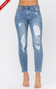 DESTROYED LARGE HOLES RELAXED JEANS | Judy Blue