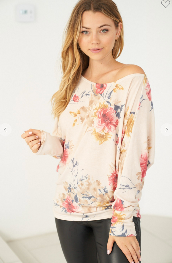 Long Sleeve Floral Off the Shoulder Top, CLOTHING, White Birch, BAD HABIT BOUTIQUE