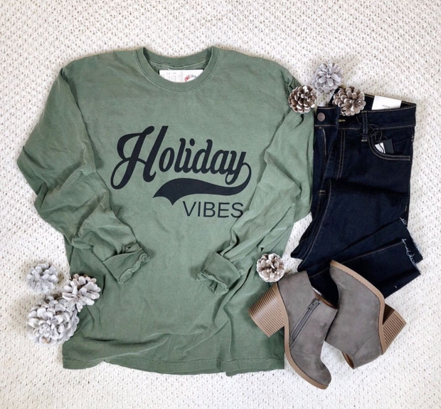 Holiday Vibes Comfort Colors Long Sleeve, CHRISTMAS, BAD HABIT APPAREL, badhabitboutique