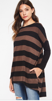 A striped dolman to the win. You will love this casual look with leggings