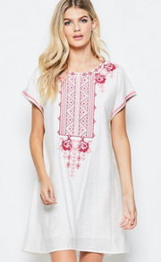Sea and be Seen Short Sleeve Embroidered White  Dress