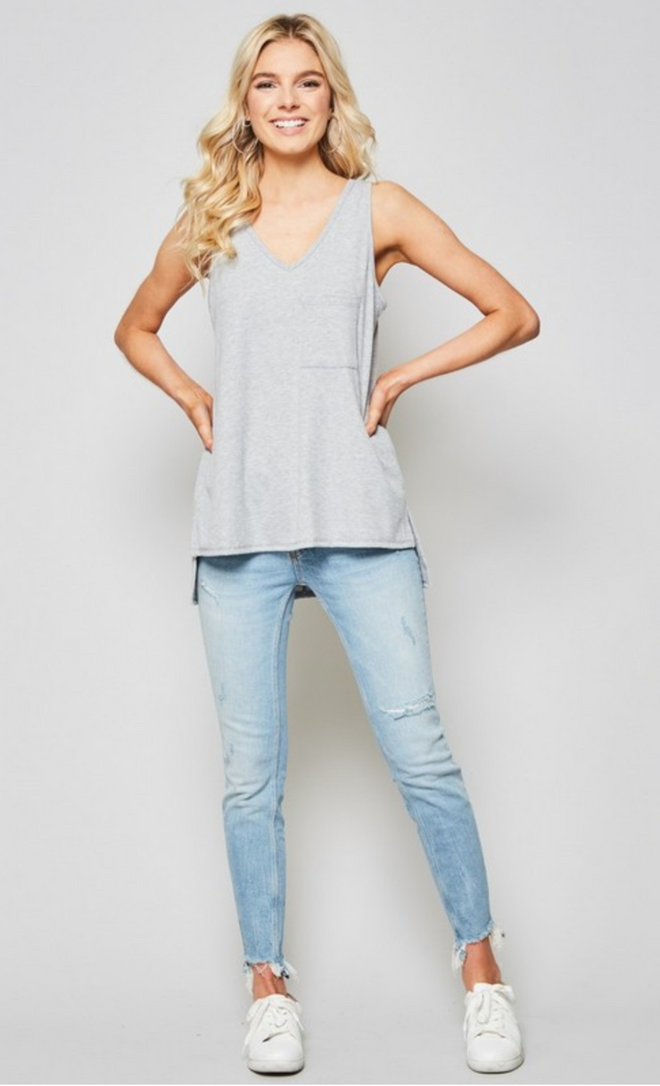 Believe in Basic Gray Layering Pocket Tank, Tank, andree by unit, BAD HABIT BOUTIQUE