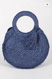 Sunday Afternoon Round Straw Bag Cobalt | FINAL SALE