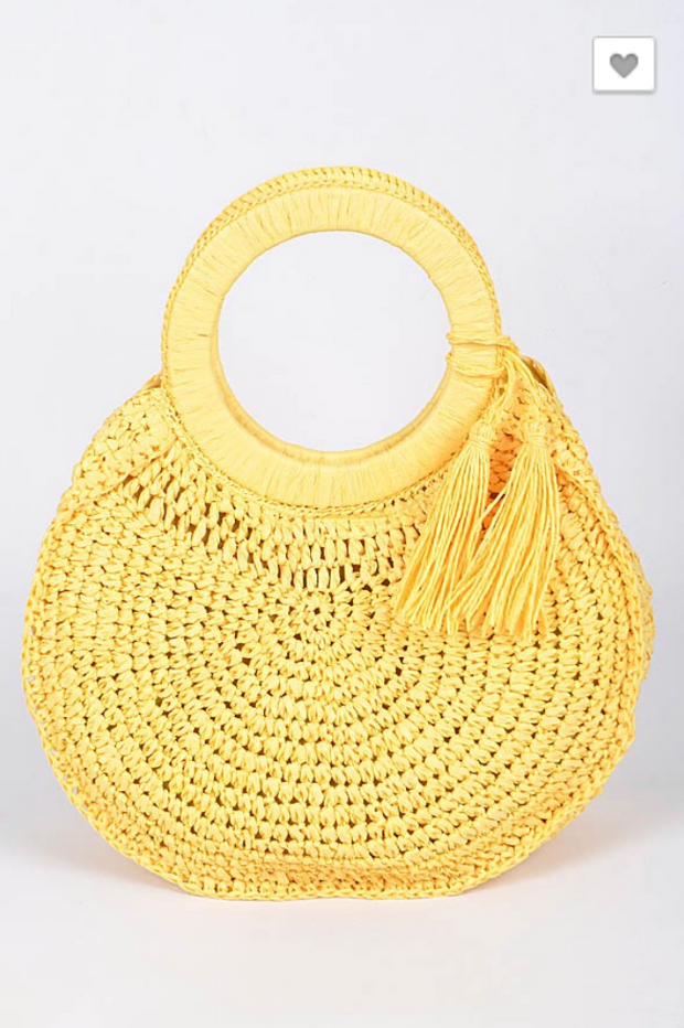 Sunday Afternoon Round Straw Bag Yellow | FINAL SALE