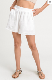 Play Nice Frayed Linen White Shorts FINAL SALE