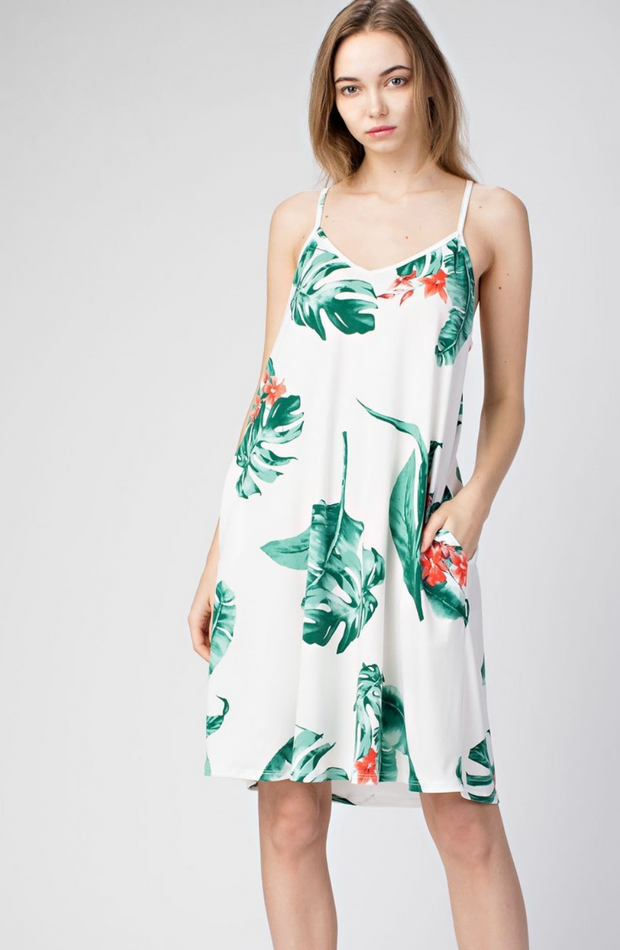 Lost in The Tropics V-NECK Pocketed Dress-FINAL SALE