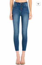 High Rise Exposed Button Crop Skinny | CELLO-FINAL SALE