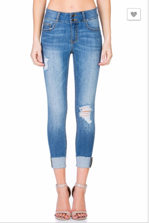 Mid Rise Two Button Distressed Crop Skinny | Cello