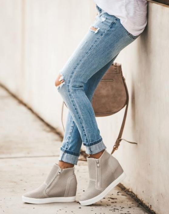 Zoey Gray Wedge Booties