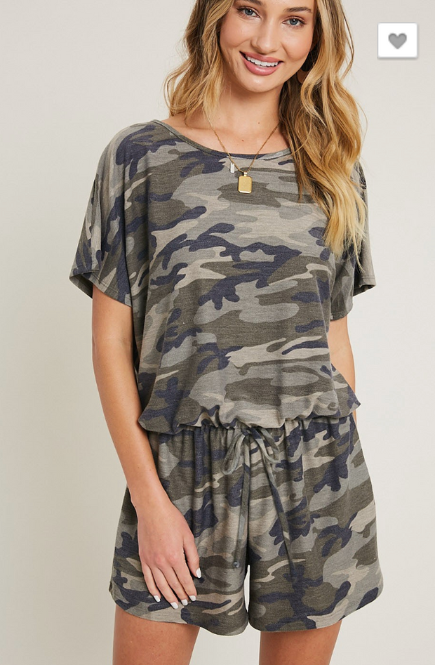 Camo Scoopneck Romper - Final Sale