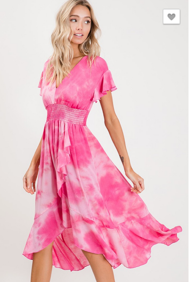 Walk Along Side of Me Tie Dye Midi Dress - FINAL SALE