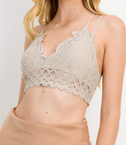 Lace Spaghetti Strap Removable Padded Bralette