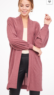 Ribbed Side Button Cardigan - Plum