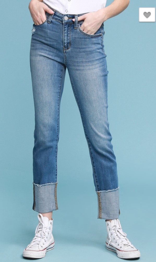 High Rise Judy Blue, Denim, no distress jeans, cuffed jeans, straight leg jeans, jeans,