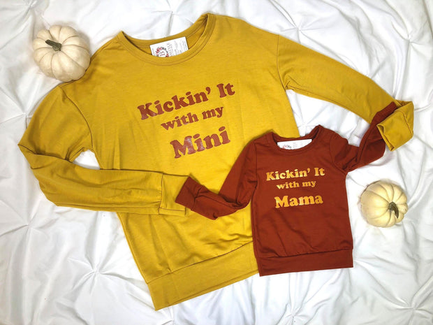 kicking it with my mini/ mama mustard rust long sleeve sweater