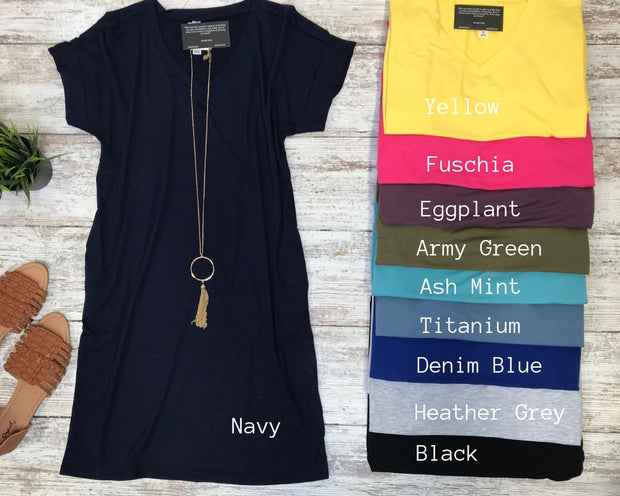 Rolled V-Neck T-Shirt Dress