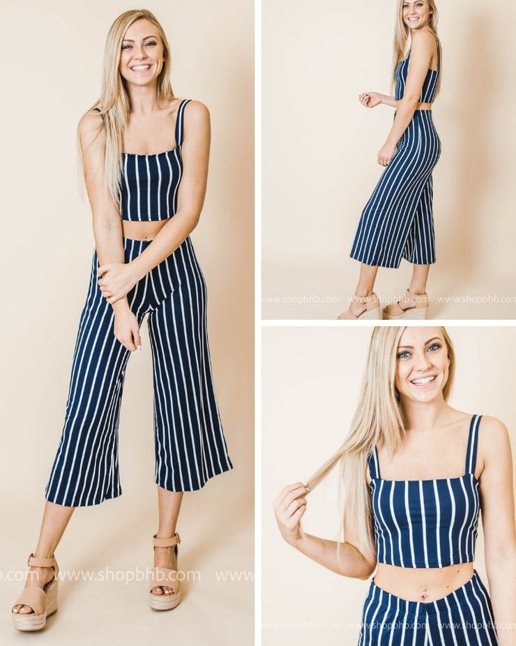 Striped Navy Two Piece Set-FINAL SALE