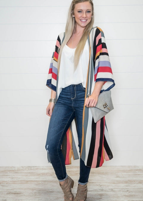 Confidently Confident Striped Duster-Red, CARDIGANS, Vine & Love, badhabitboutique