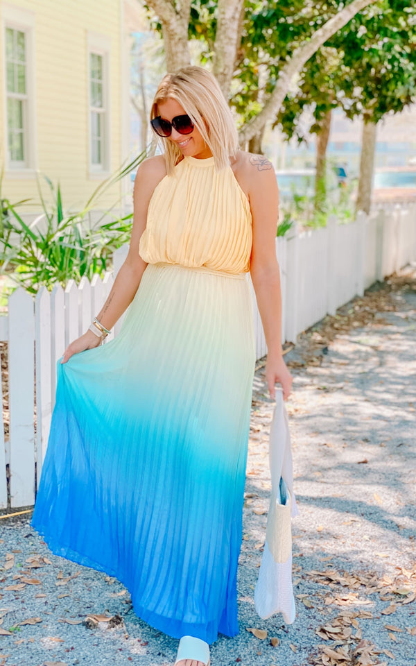 Aqua Vista Ombre Pleated Maxi Dress - BAD HABIT BOUTIQUE