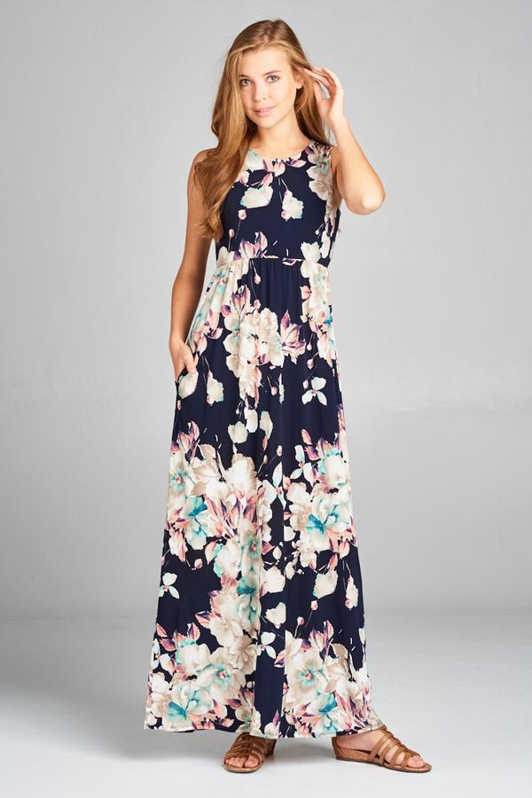 floral sleeveless scoop neck navy maxi dress with pockets