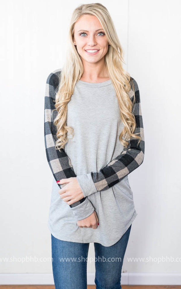 French Terry with Plaid | Gray, SALE, 12PM, badhabitboutique